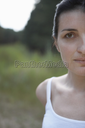 portrait of cropped woman outdoors
