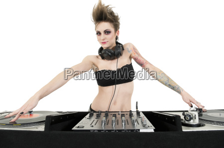 portrait of beautiful young female dj