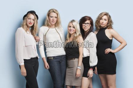 portrait of five young female friends