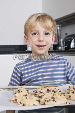 portrait of happy young boy in