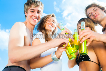 celebrating party at beach