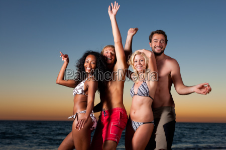 people having party at beach
