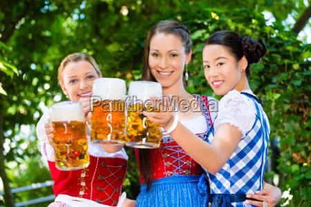 beer garden friends in traditional