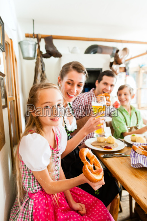 bavarian family in german restaurant