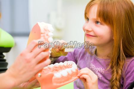 zahnarzt erklaeren maedchen reinigung zahn