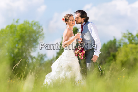 bridal pair celebrate wedding day with