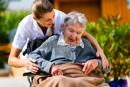 senior woman in nursing home with
