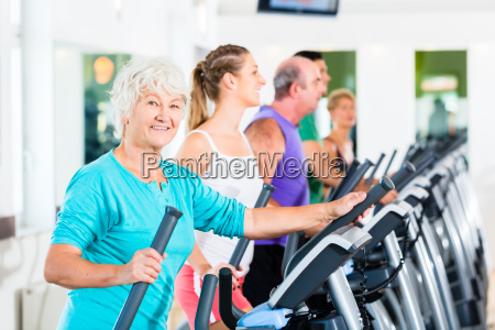 group of people on elliptical trainer