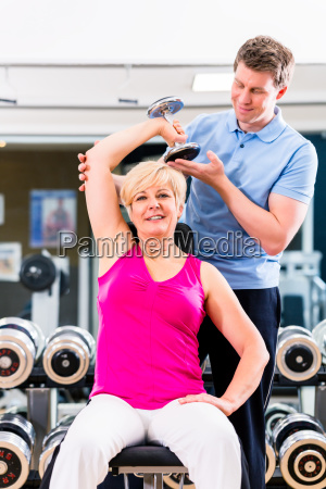 senior woman at sport exercise in