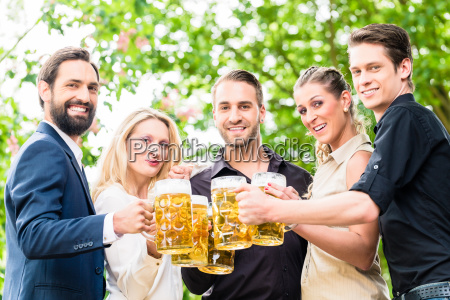 friends or colleagues on beer garden