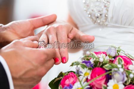 groom slipping ring on finger of