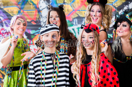 young women celebrating german fasching carnival