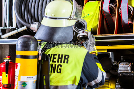 fire fighter with breathing protection and