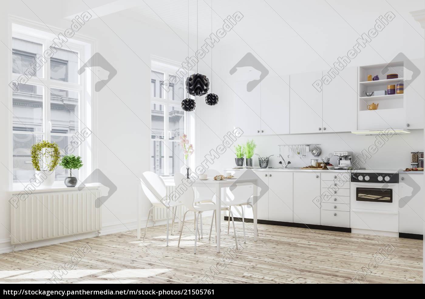 Stockfoto 21505761 - 3d rendering der küche interieur in modernen haus mit