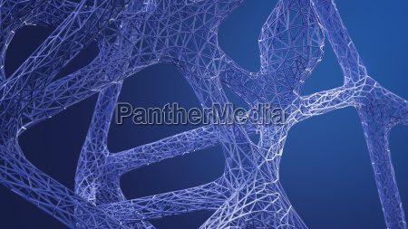 abstract organic grid structure in blue