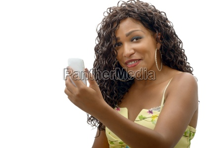 beautiful young african woman with cell