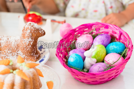basket with easter eggs having been