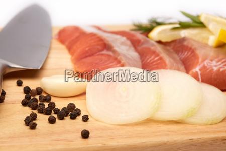 fresh raw fillet of salmon