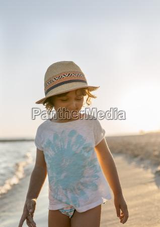 spain menorca smiling little girl on