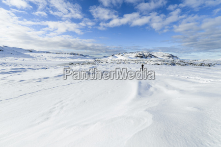 iceland person in snowy landscape