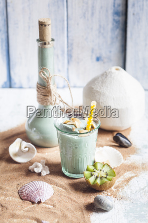 blue smoothie with coconut milk banana