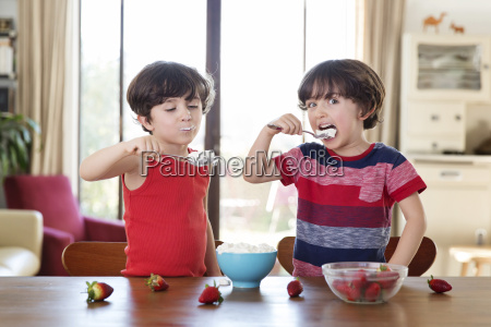 portrait of twin brothers eating whipped