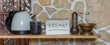 water cooker cup and notepad with