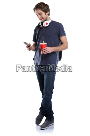 student with mobile phone smartphone full