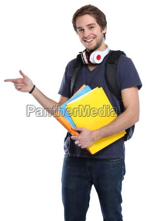 student junger mann zeigen werbung marketing