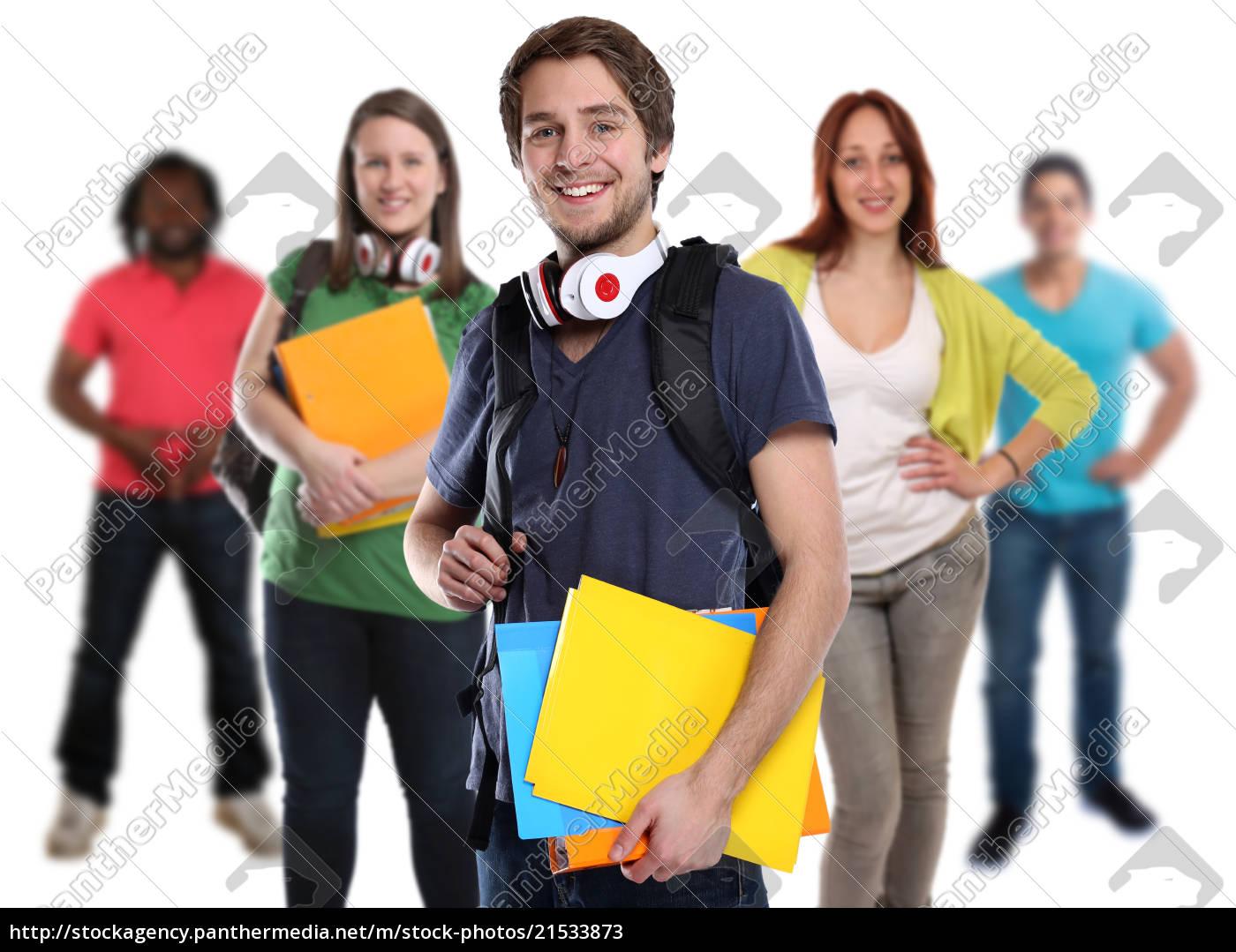 studenten, gruppe, junge, jung, lachen, leute - 21533873