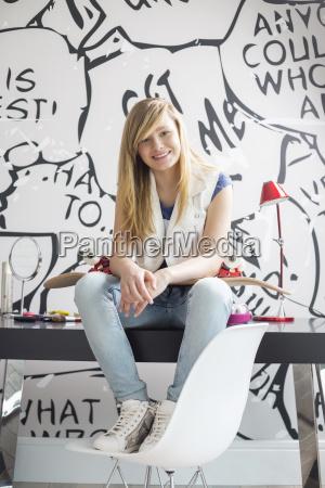 full length portrait of happy teenage