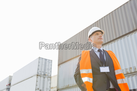 low angle view of worker standing