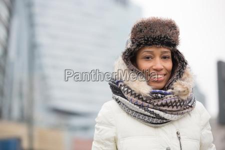 portrait of happy woman in warm