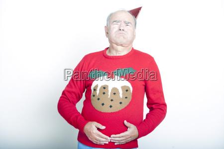 senior adult man indicating that he