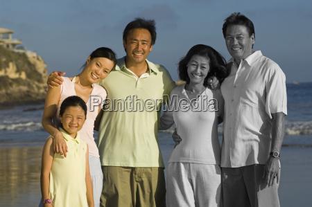 portrait of happy asian family enjoying