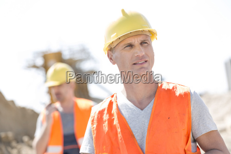 male worker at construction site with
