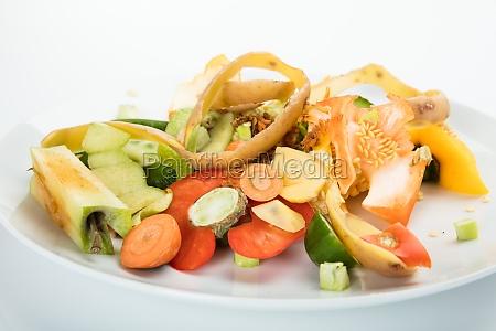 vegetable and fruit peelings on plate