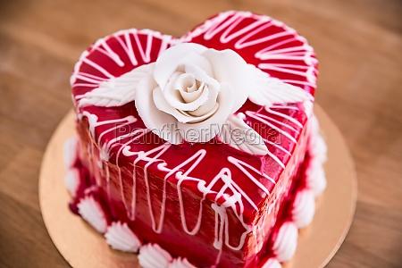 heart shape red cake