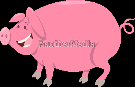 pink pig farm animal character