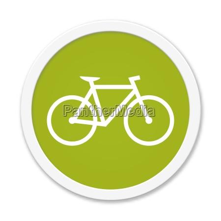 runder gruener button zeigt fahrrad