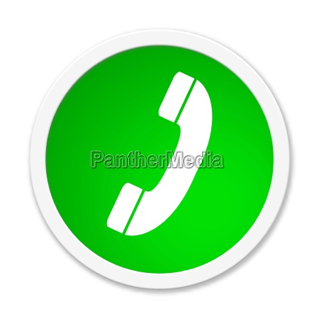 runder gruener button mit telefonsymbol
