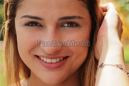 portrait pretty colombian girl looking at