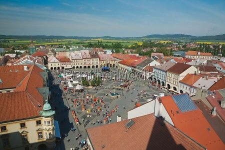 town square on weekend