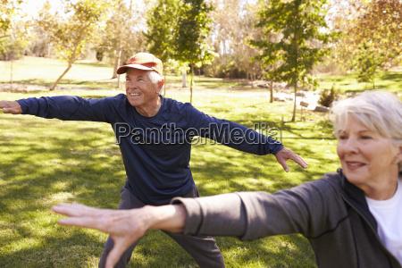 senior couple doing tai chi exercises