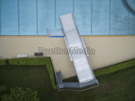 directly above view of metal slide