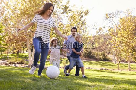 familie die fussball im park zusammen