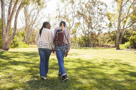 mature couple going on picnic in