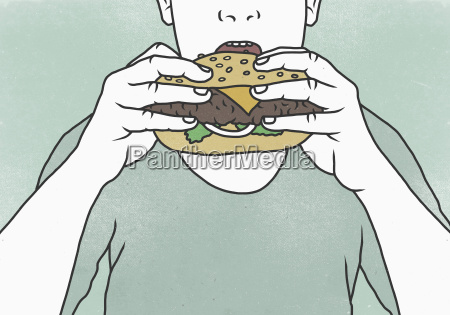 close up of man eating hamburger