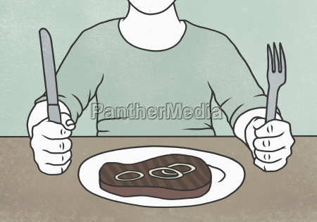 illustration of man sitting at dining