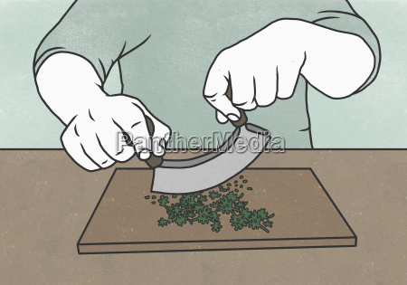 midsection of man cutting herbs with